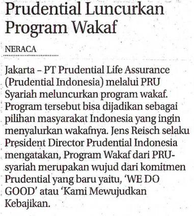 Prudential Luncurkan Program Wakaf